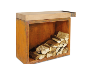 Ofyr – Butcher blok storage 90 corten + teak wood